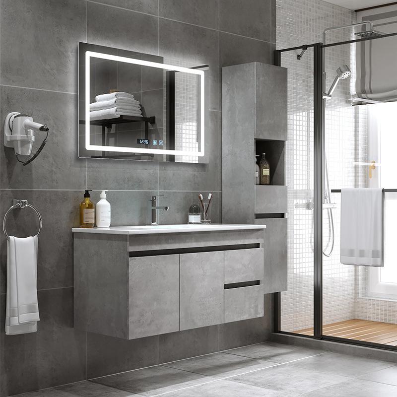 YIDA Tủ phòng tắm Tủ quần áo gỗ rắn Bắc Âu kết hợp hiện đại tối giản chìm chìm phòng tắm treo tường