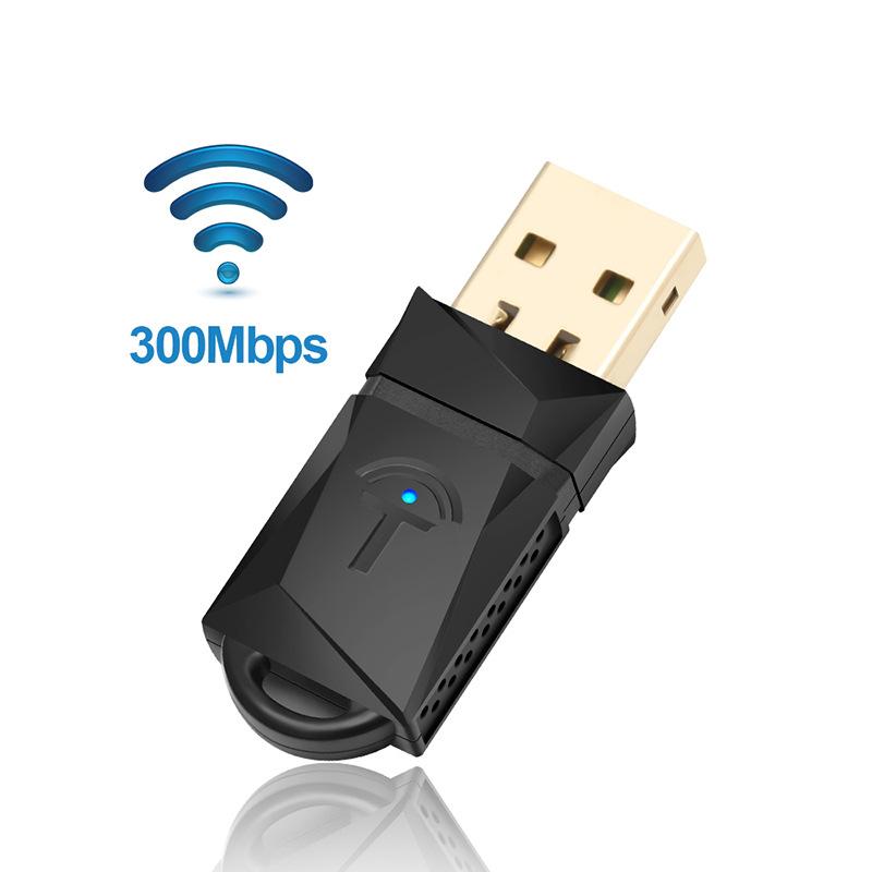 Rocketek -  Bộ điều hợp USB WiFi không dây 300 Mbps Thẻ mạng di động không dây