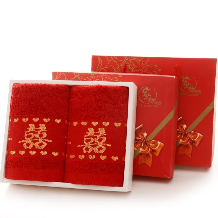 KAIQIMAN Khăn đám cưới Khăn bông cưới bán buôn hi từ khăn dày lớn màu đỏ trăm năm tốt đôi vợ chồng k