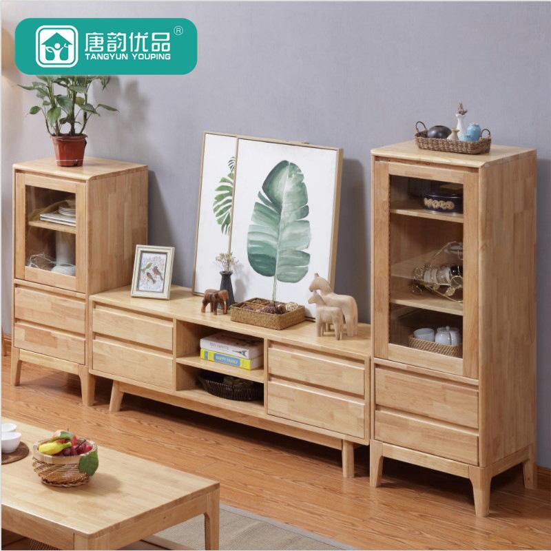 TYYP Kệ Tivi Tủ bếp gỗ rắn Bắc Âu đơn giản và đơn giản tủ căn hộ nhỏ kết hợp nội thất phòng khách