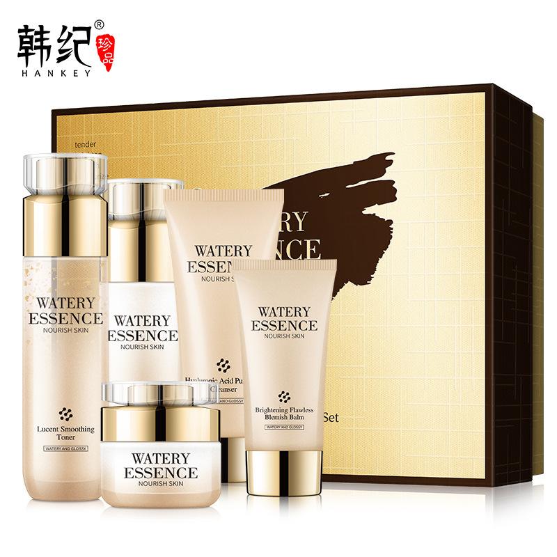 HANKEY bộ sản phẩm Han Ji sang trọng mặt vàng năm mảnh hydrating nâng hộp làm săn chắc da mặt chăm s