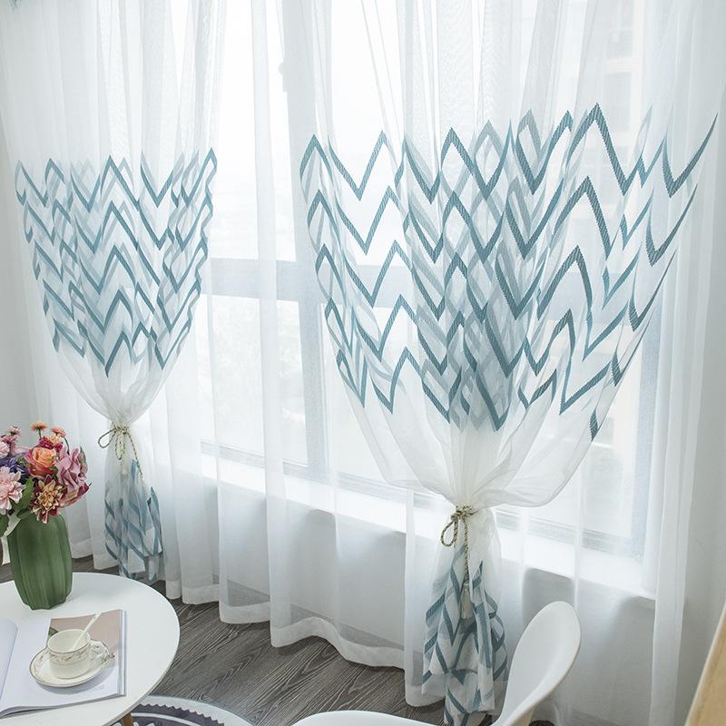 rèm thuỷ tinh Gạc rèm đơn giản hiện đại hoàn thành sợi trắng Phòng ngủ Bắc Âu phòng khách ban công m