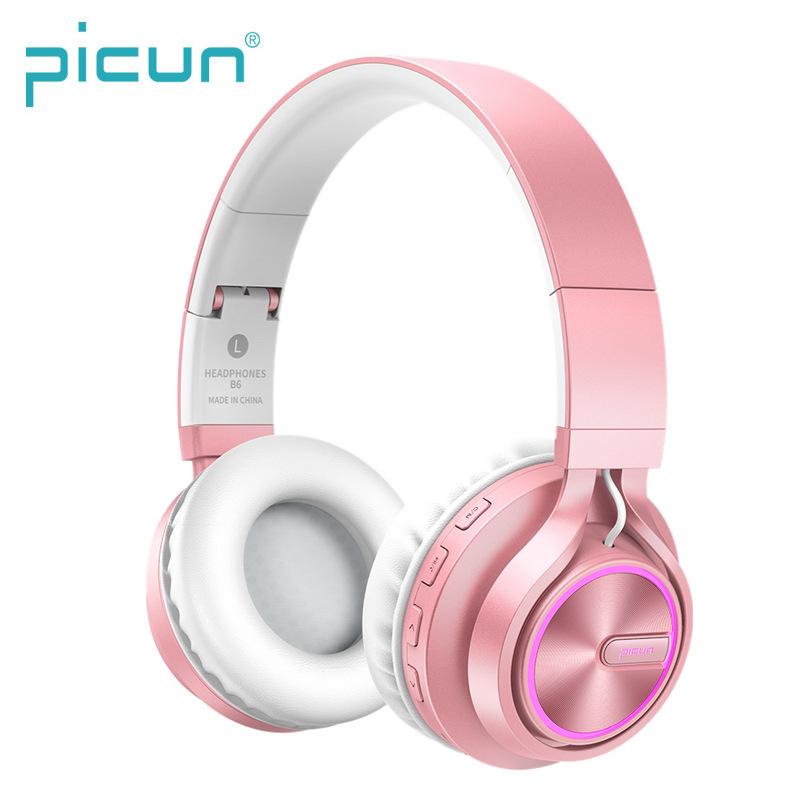 Picun Tai nghe / headphones Tai nghe phát sáng Bluetooth mới Loa siêu trầm gắn trên đầu Máy tính di
