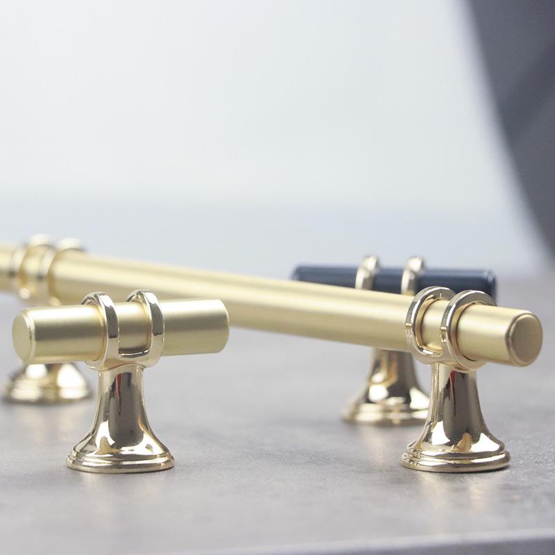 SENMIAO Thị trường ngũ kim Mori phần cứng kim loại vàng đen vàng đơn lỗ dài tay cầm hợp kim kẽm hiện