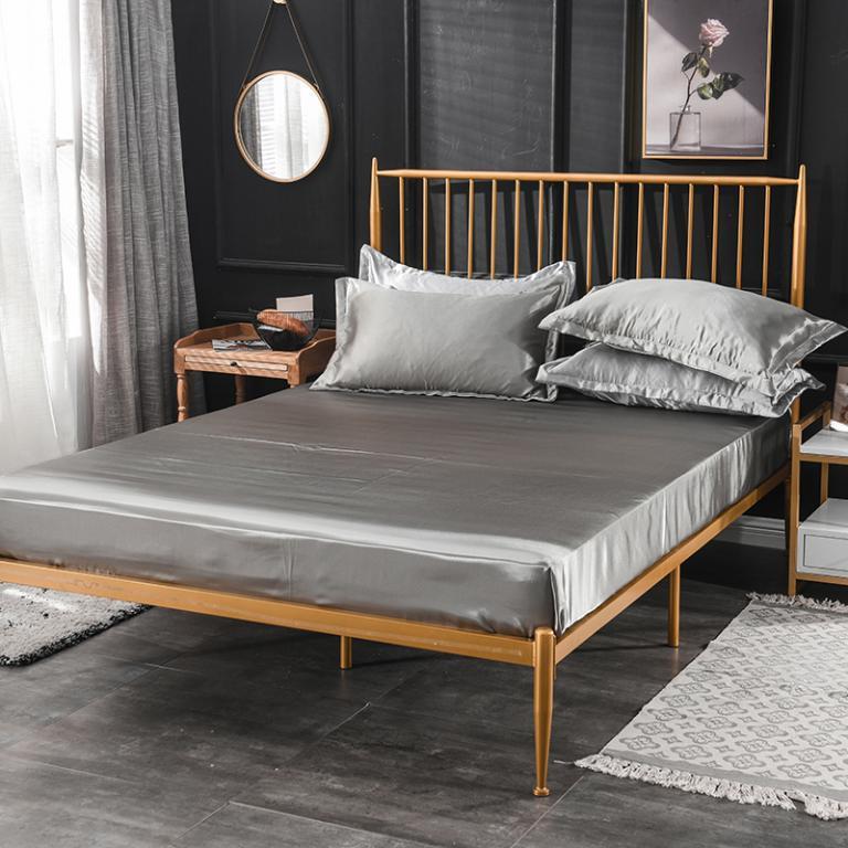 YUJIE Drap giường Tấm lụa tơ tằm đơn mới giặt Giường lụa màu Giường ga trải giường nhà máy bán buôn