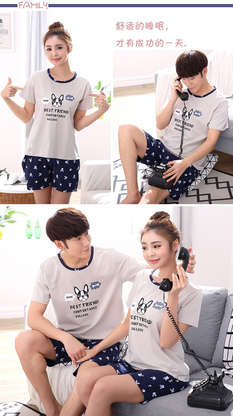 Đồ ngủ trẻ em Yuefei 3 sets of parents and children's pajamas in summer a family of three pairs of