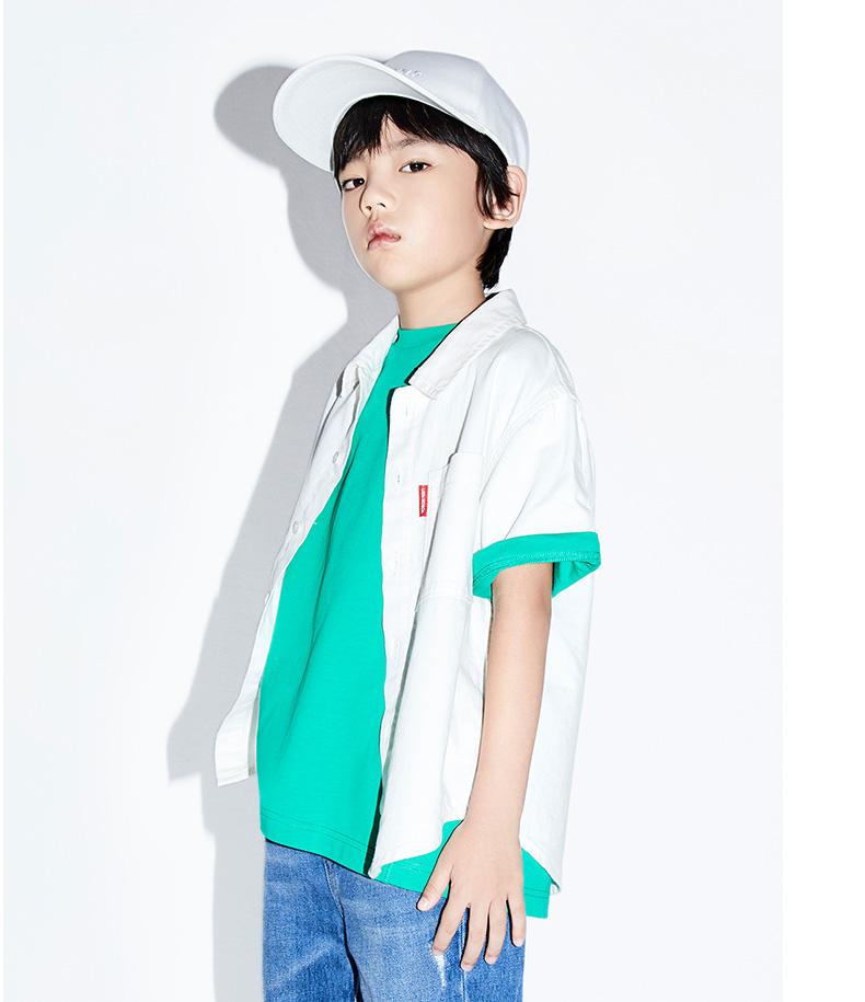 Áo Sơ-mi trẻ em Áo khoác Summer mới của cậu bé Chán Chán Chán Chán trắng áo khoác ngắn1592209.5