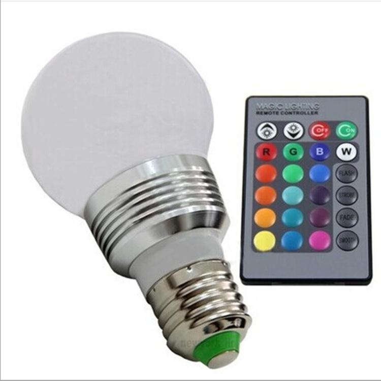 HUALEMEI Bóng đèn LED RGB điều khiển từ xa bóng đèn LED nhiều màu bóng đèn 3W bóng mờ thông minh màu