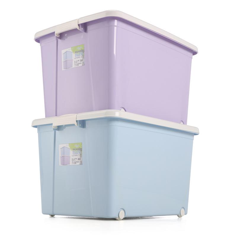 Wozhiwo Thùng nhựa hộp lưu trữ lớn chăn dày đồ chơi lưu trữ quần áo hộ gia đình lưu trữ hộp nhựa di