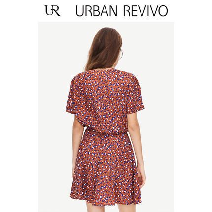 Đầm UR2019 hè trẻ trung phong cách nữ màu sắc kết hợp đầm cổ chữ V YV16R7EN2001