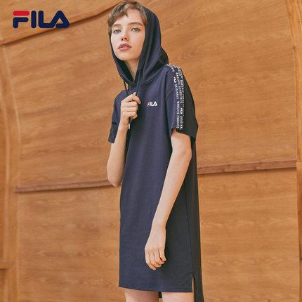 Đầm Fila Đầm Fila Fila Official Women trùm đầu 2019 Mùa hè mới Thể thao Váy giản dị
