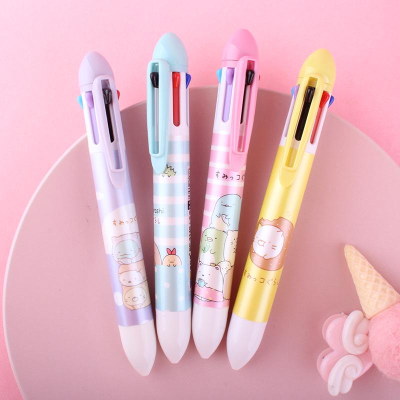BOTEMAN Bút bi Phim hoạt hình Nhật Bản sáng tạo bút bi bảy màu bút bi học sinh bút màu dầu bút 8 màu