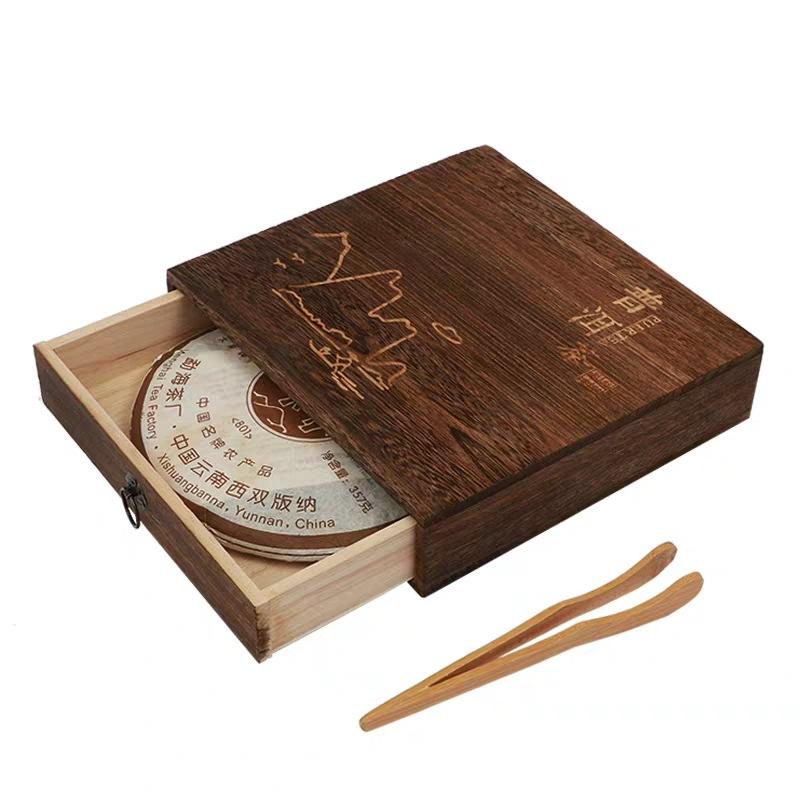 QIYI Hộp gỗ Trà hộp gỗ đóng gói hộp trà tư nhân hộp gỗ rời trà rắn gỗ rắn Pu'er trà bánh gỗ hộp trà