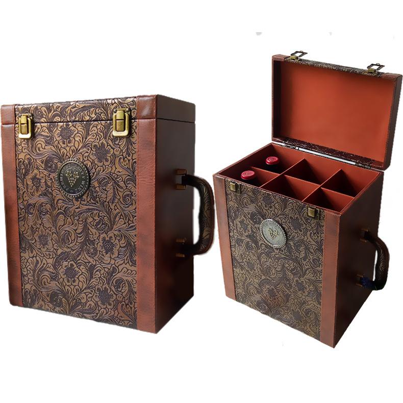 Hộp da Spot hộp rượu vang đỏ sáu gói Hộp quà tặng rượu vang đỏ lễ hội Phoenix tail rượu vang hộp bao