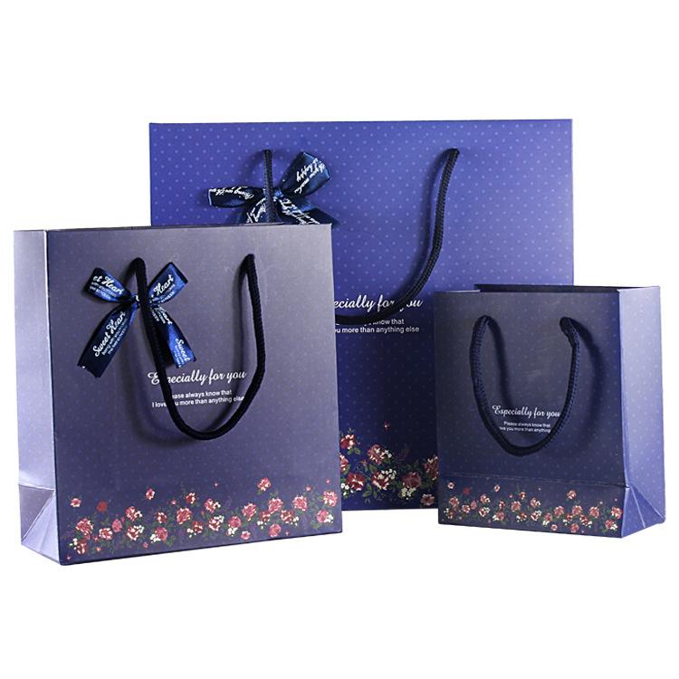 LEILEI Túi giấy đựng quà Cung cấp túi quà tặng phong cách Hàn Quốc Màu xanh đậm điểm dưới túi quà tặ