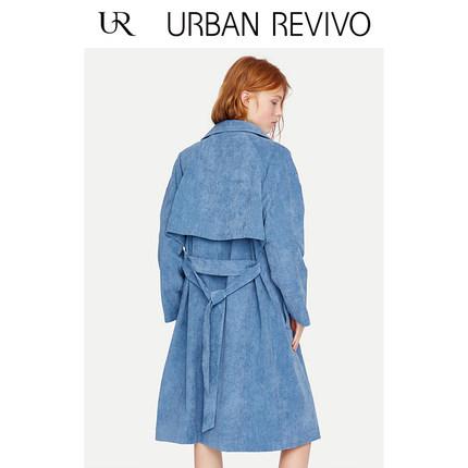 Áo khoác lửng UR2019 thời trang mới của phụ nữ thời trang đơn giản thắt lưng thắt lưng áo dài trench