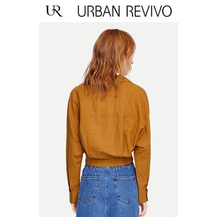 Áo khoác lửng UR2019 phụ nữ mới phong cách khâu áo gió cổ áo rỗng áo gió YL09S1DN2001