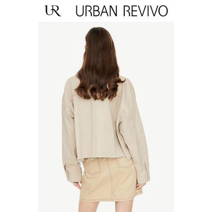 Áo khoác lửng UR2019 mùa thu mới của giới trẻ phụ nữ giản dị nút màu đơn giản ve áo khoác ngắn YV34R