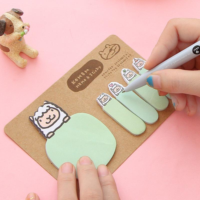 DAMAI Giấy note Văn phòng phẩm Hàn Quốc Phim hoạt hình động vật dễ thương N Times Sticker Nhãn dán c