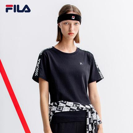 Áo thun FILA Áo thun ngắn tay của phụ nữ Fila Fila chính thức 2019 Mùa hè mới giản dị thể thao có dâ