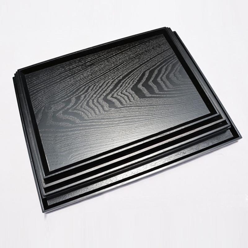 LIHE Mâm nhựa / Pallet nhựa Nhà máy trực tiếp Nhật Bản màu đen hình chữ nhật khay gỗ rắn khách sạn c