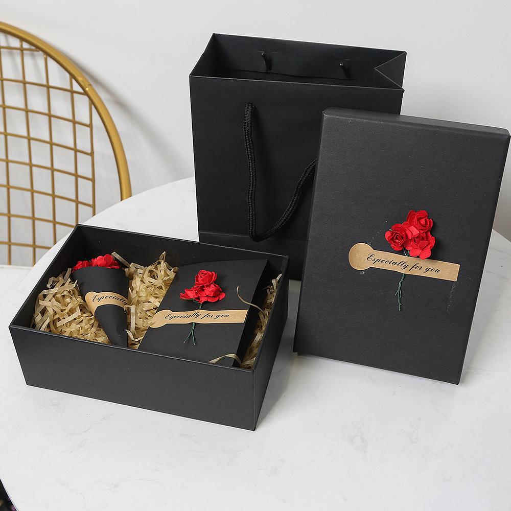 ZISIZ Hộp quà tặng Khay tại chỗ Hộp quà tặng cola màu đen Hộp đóng gói Hộp đựng khăn quàng có thể đư