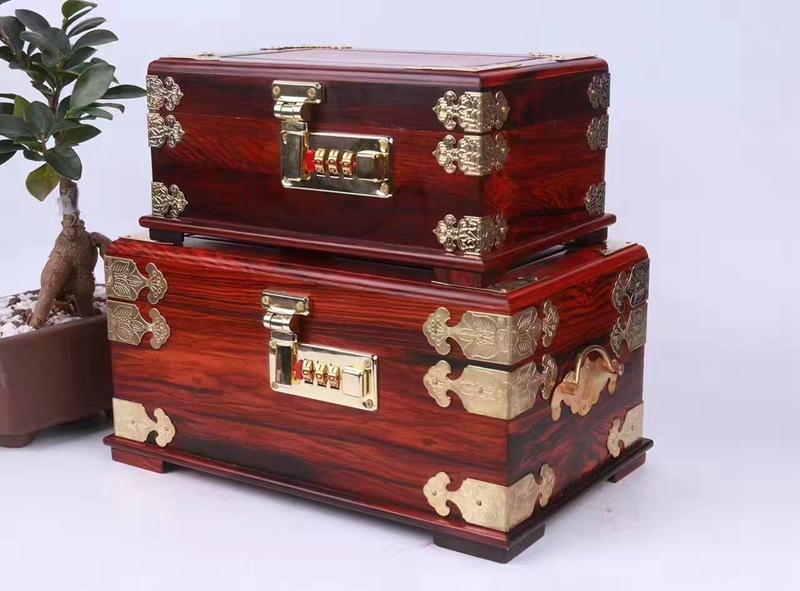 YIBOYUAN Gỗ hồng mộc mật khẩu hộp trang sức gỗ gụ hộp lưu trữ hộp đồng nhỏ gọn Linyi hộp trang sức c