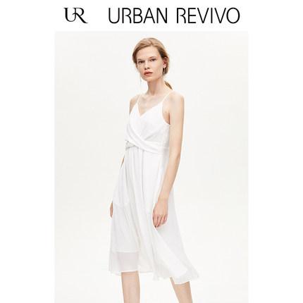 Đầm UR2019 mùa thu mới của phụ nữ sạch sẽ tinh khiết Đầm cổ chữ V WE30S7AE2006