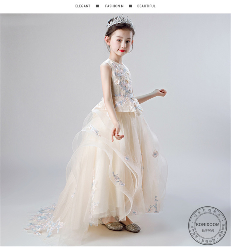 Trang phục dạ hôi trẻ em Công chúa Skirt của Bernie Xuan Children, Peng Peng Yarn Tup -tail evening,