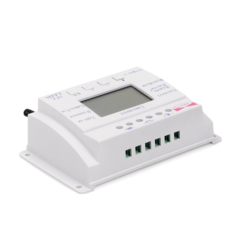 Bộ điều khiển năng lượng mặt trời 20A 12/24 V MPPT LCD thông minh nhận dạng tự động sạc và xả mạch