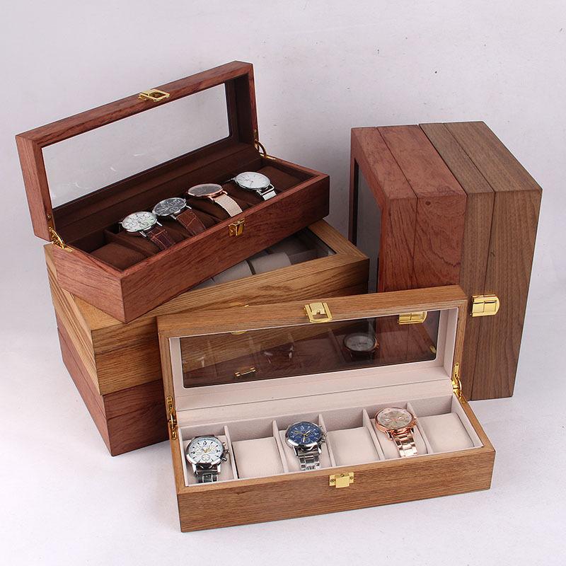 HUAHE Hộp gỗ Các nhà sản xuất phát hiện ra hộp lưu trữ đồng hồ hiển thị cao cấp 6 hộp 10 inch 12 inc
