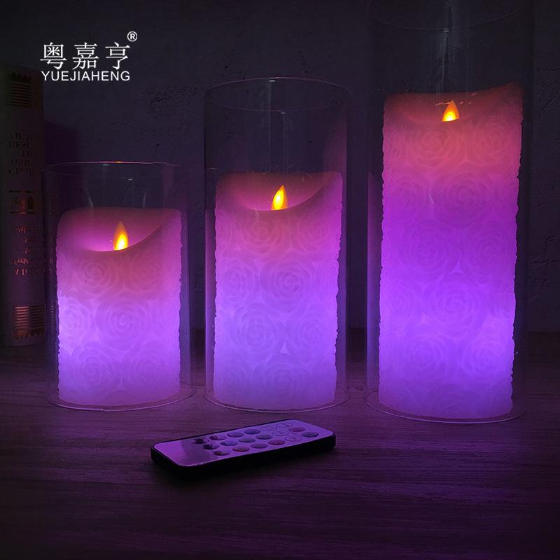JIAHENG Bóng đèn nến Rose 18 chìa khóa swing điều khiển từ xa LED điện tử nến ánh sáng lãng mạn sinh