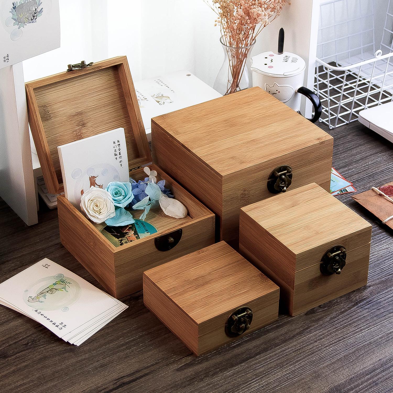RONGHUI Hộp gỗ Tre gỗ rắn có khóa hộp gỗ hộp vuông để bàn lưu trữ hộp đồ trang sức lưu trữ vuông hộp