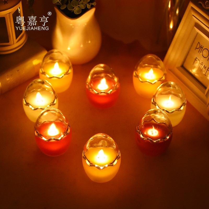 YUEJIAHENG Bóng đèn nến Eggshell Glass Swing LED Nến điện tử Đèn nến không khói Nến sinh nhật Tòa án
