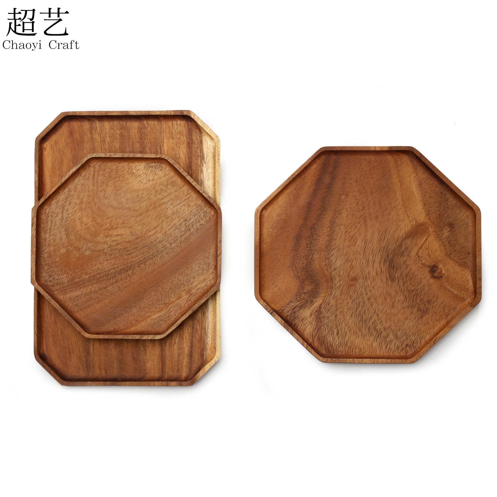 Mâm nhựa / Pallet nhựa Thiết kế ban đầu Khay treo bát giác bằng gỗ không sơn, khay đựng trà Acac Kun