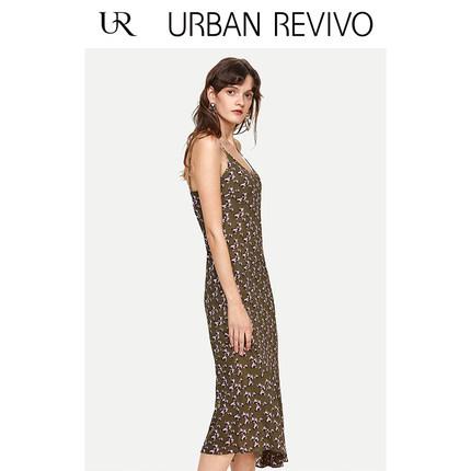Đầm UR2019 phụ nữ mới in chic chic dây đeo quyến rũ WE06S7FT2001