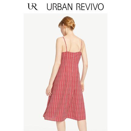 Đầm UR2019 mùa thu mới của phụ nữ quyến rũ in thắt nút thắt cổ chữ V Đầm WE29R7AF2000