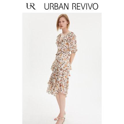 Đầm UR2019 mùa thu mới của phụ nữ lãng mạn váy hoa cổ chữ V xù WH30S7BE2002
