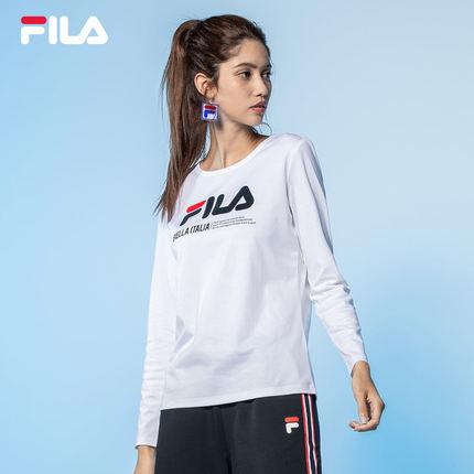 Áo thun FILA Áo thun nữ chính hãng của FILA Fila 2019 Mùa thu mới Thể thao giản dị Cổ tròn Cổ áo tay
