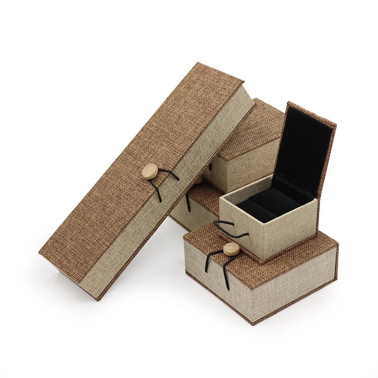 Hộp trang sức Khóa gỗ cao cấp Hộp trang sức Hộp vải lanh cổ điển vòng đeo tay vòng cổ bao bì hộp tra