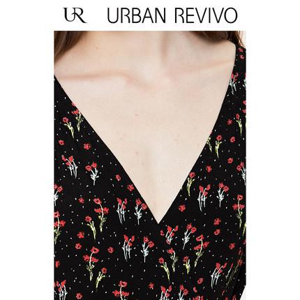 Đầm UR2019 hè trẻ trung khí tương phản màu sắc váy hoa cổ chữ V YU17S7EN2005