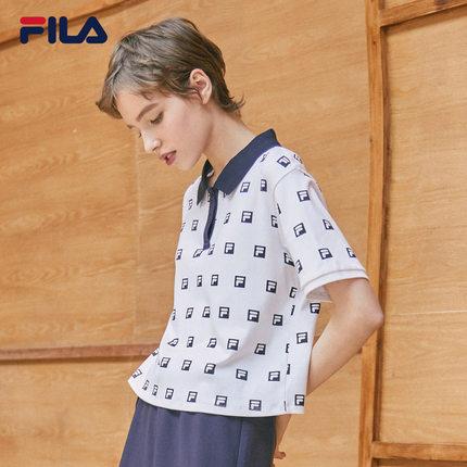 Áo thun FILA Áo sơ mi nữ tay ngắn của FILA Fila chính thức mùa hè 2019 mùa hè mới in đầy đủ áo sơ mi