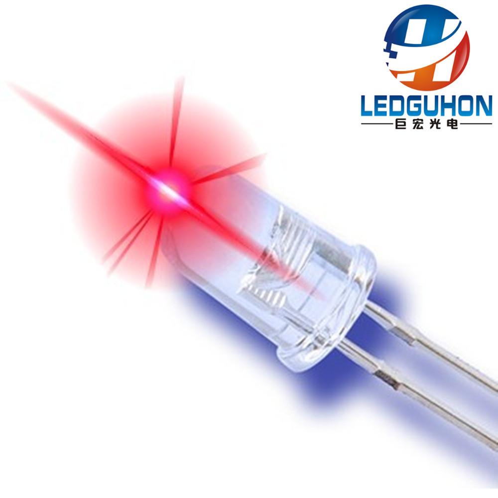 LEDGUHON Điốt bán dẫn 5 mm tóc trắng led hạt đèn LED nhỏ điện tròn đầu đỏ đèn LED hạt