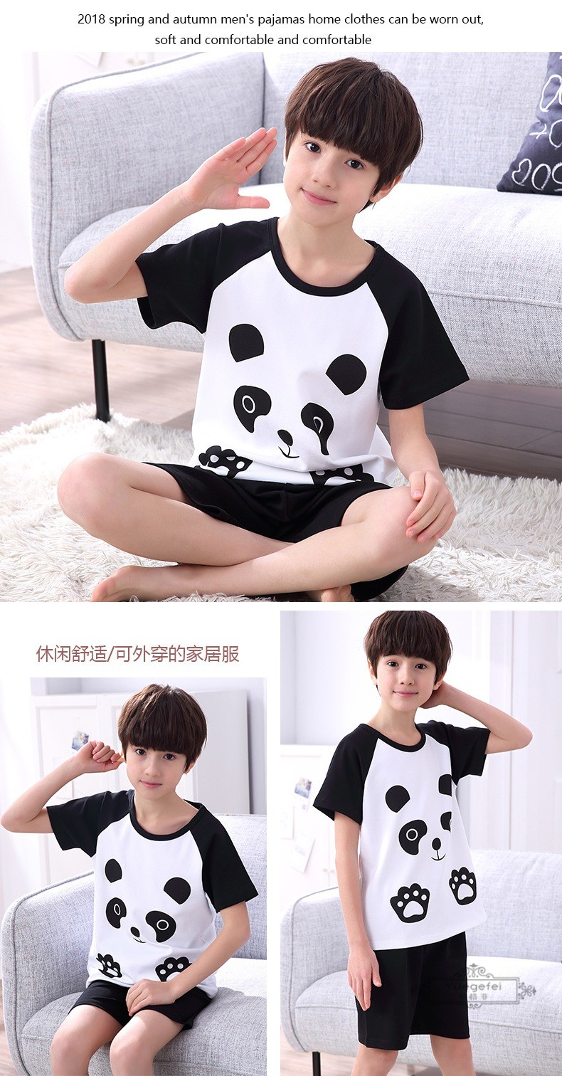 Đồ ngủ trẻ em Yuefei children's pajamas, boys and girls in summer pure cotton cartoon short sleeve