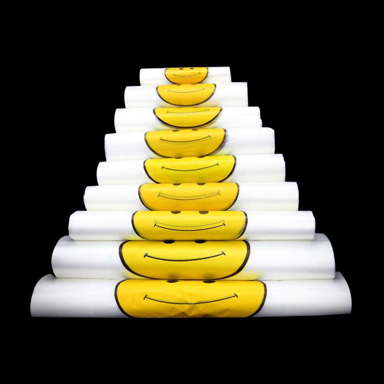 JIAMAI Túi xốp 2 quai Smiley vest túi nhựa túi vest túi tiện lợi siêu thị túi mua sắm tùy chỉnh logo