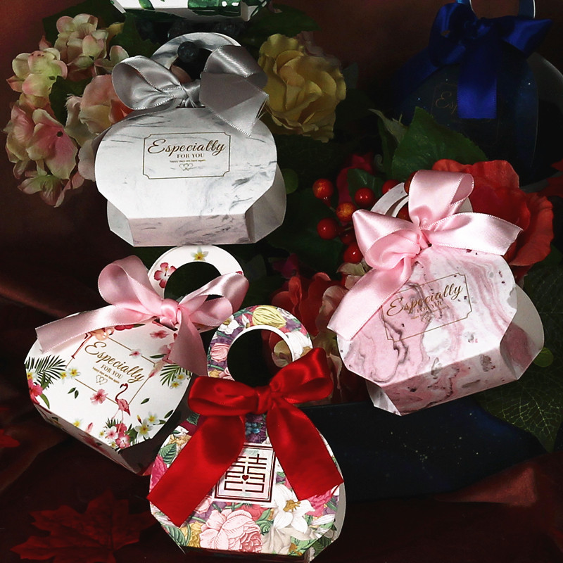 YIAIGE hộp quà tiệc cưới Đồ cưới cưới Hộp kẹo cá tính sáng tạo Hộp quà cưới Túi kẹo cưới Túi xách ta