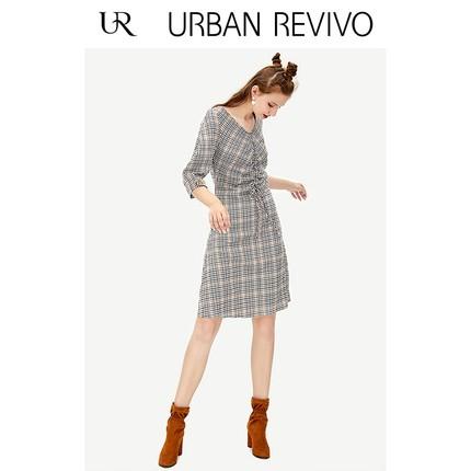 Đầm UR mùa thu đông mới giới trẻ nữ đơn giản kẻ sọc cổ chữ V Đầm thanh lịch YU39S7EN2001