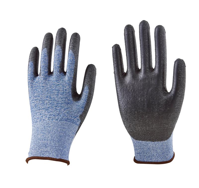 Găng tay bảo hộ Sản phẩm bảo hộ công nghiệp bán buôn 18-pin nylon màu xanh chống cắt nhúng đen PU gă