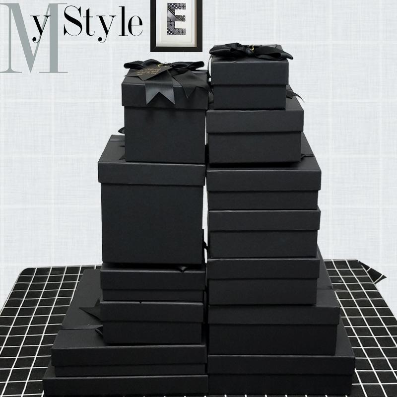 SENXI hộp giấy âm dương Tinh tế nơ quà tặng hộp trời và trái đất bao gồm hộp quà tặng giấy kraft đen