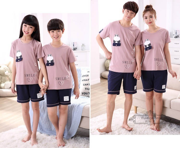 Đồ ngủ trẻ em New Parent-Child Pajamas Summer Short-sleeved Cotton Family Clothing for ChildrenNew P